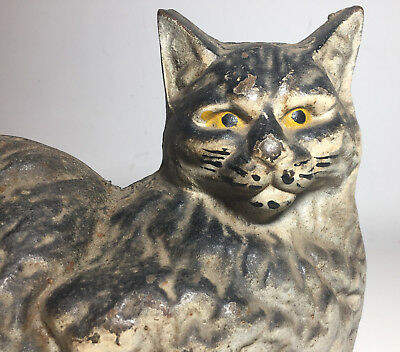 Vtg Antique Cast Iron Cat Hubley ? Doorstop Hearth Persian Siamese Laying Large