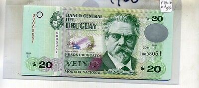 Uruguay 20 Pesos 2011 Currency Note Lot Of 10 Consecutive Cu 4960D