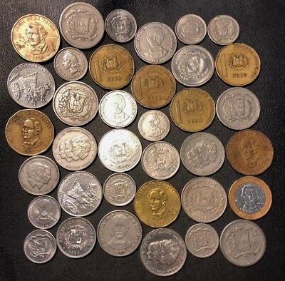 Old Dominican Republic Coin Lot - 1963-Present - 36 Great Coins - Lot #919