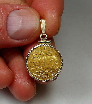 1/10 Ounce Pure Gold 1989 Isle Of Man Cat Coin & 14K Gold Pendant Bezel BEST