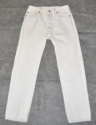 vintage LEVI'S 501 WHITE CLASSIC FIT JEAN Button Fly Made USA Denim 34 x 32 Jean