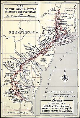 A4 Reprint of Map 1790 Postal Routes Pennsylvania Delaware NJ etc