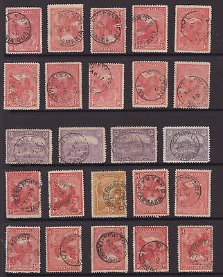 Tasmania page of pictorial stamps some nice postmarks see scans x 3