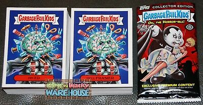 2018 Garbage Pail Kids Oh The Horror-Ible Complete Set 200 Cards + Free Wrapper