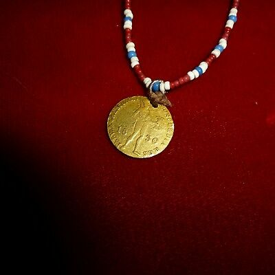 Rare Native American Indian 1850 Solid Gold Coin Pendent / Trade Bead Necklace