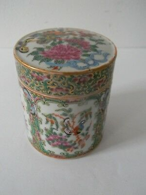 Antique Chinese Export Porcelain Rose Famille Tea Cady - Cannister - Round Box