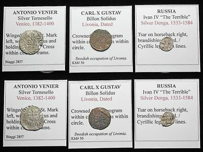 MEDIEVAL. Lot of 3 Hammered Silver/Billon coins, Venice, Livonia, Russia