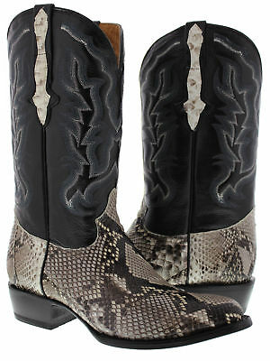 Mens Real Python Snake Skin Western Cowboy Boots Genuine Leather Round Toe