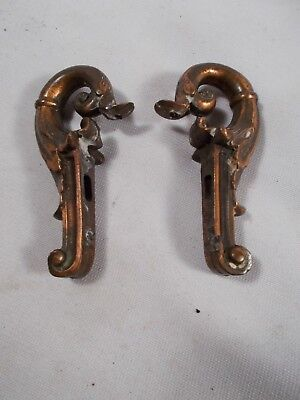Antique vtg Art Nouveau Pair of Side Arms for light fixture/lamp bronze patina