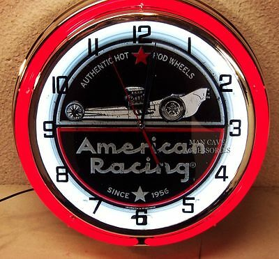 """18"""" AMERICAN RACING Wheels Since 1956 Sign Double Neon Clock Hot Rod Mag"""