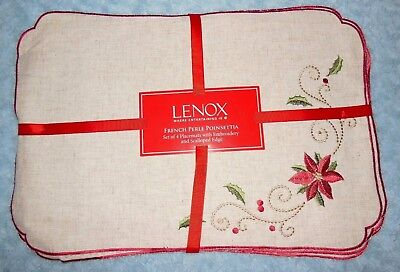 Lenox Christmas French Perle Embroidered Poinsettia Placemats Set/4 $56 NIP
