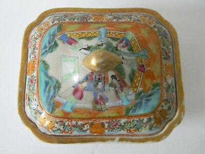 Large Antique Chinese Export Porcelain Famille Rose Covered Dish / Bowl