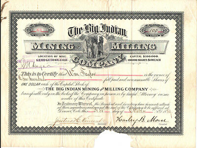 RARE 1889 Big Indian Mining & Milling Co. Stock Certificate GEORGETOWN COLORADO