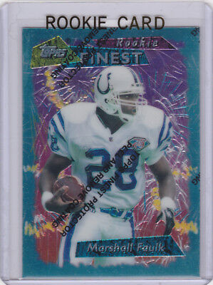 Marshall Faulk Rc Topps Finest Rookie Card Colts St Louis Rams Football Nfl Hof