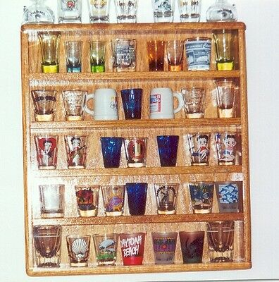 oak 35 shot glass display shelf case   plexi front acrylic showcase ab1