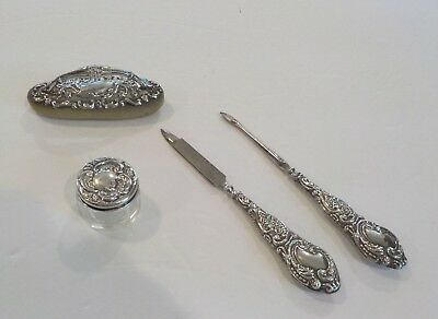 Group/4 English Sterling Silver Miniature Dresser Items