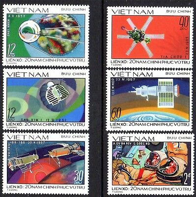 1978 VIETNAM RUSSIAN SPACE EXPLORATION SG226-231 mint no gum as issued