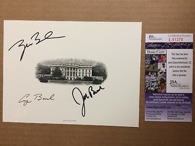 George Bush George W Bush Jeb Bush JSA AUTHENTIC SIGNED Bureau Print Engraving