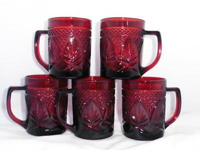 5 Vintage Cristal D'Arques-Durand Antique Ruby Red Mugs
