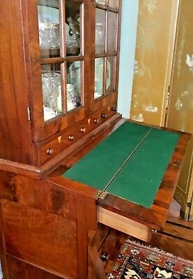 ANTIQUE WOOD SECRETARY WINDOWED SHELVES LATE 18th EARLY 19th CENTURY PICKUP ONLY