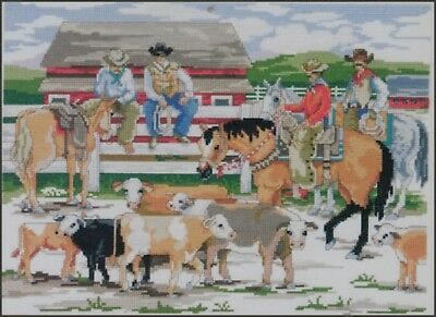 """Cross Stitching Kit Needlepoint Cowboys BACK AT THE RANCH RODEO Canvas 14x10.6"""""""