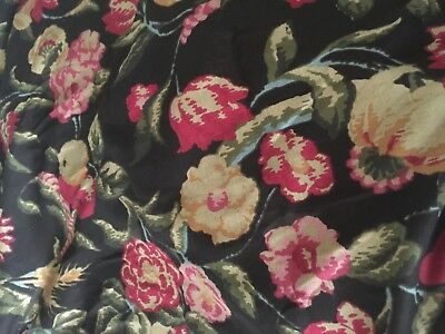 """6  yards Arts & Crafts inspired """"Bloomsbury """" black background upholstery fabric"""