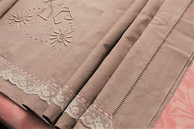"""Vintage French Thick Linen Sheet Tinted Dyed Suede Effect SC Monogram 88"""" x 116"""""""