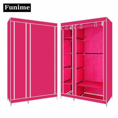 Fabric Double Canvas Clothes Storage Organiser Wardrobe Cupboard Shelves Cabinet