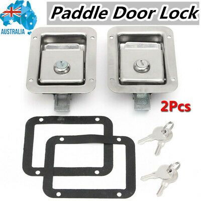 2Pcs Stainless Steel Paddle Door Lock Latch Handle Truck Tool Box Trailer W/ Key