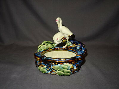 Collectable Oriental / Chinese Majolica Style Glaze - Ashtray With Cranes