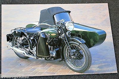 Classic 1937 1000cc BSA G14 sidecar outfit . Motorcycle Postcard