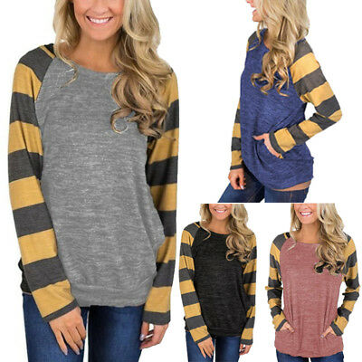 Women's Tunic Tops Stripes Long Sleeve Pullover Loose Tops Blouse Shirts T Shirt