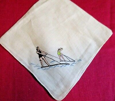 Vintage White Linen Hand Embroidered Early Surf Boarders Riding the Waves