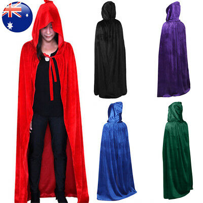 Halloween Hooded Velvet Cloak Cape Medieval Costume Witch Wicca Vampire Robe CW