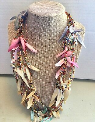 Vintage Beauitful Colorful Hawaiian Shell Necklace