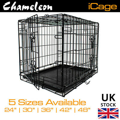 Dog Cage Crates Puppy 24 30 36 42 48in Pet Carrier Training Folding Metal Cage