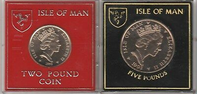 Isle Of Man - Nigel Mansell - 1993 Five And Two Pound Coins