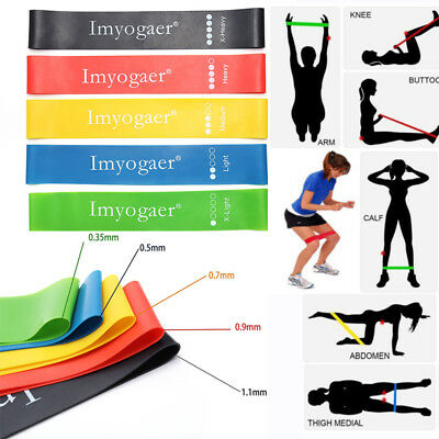 5 Levels Resistance Loop Band Yoga Fitness Crossfit Pilates Workout Gym Booty UK