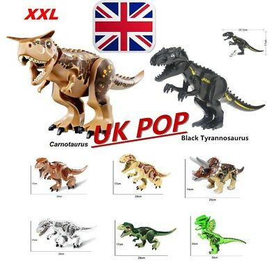 "Jurassic Park Large Size Dinosaur 7x11"" Figure Blocks Fit Lego Toy Set Kids Gift"