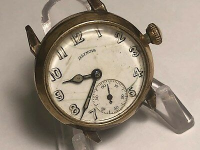 Vintage Men's 17J Wind-Up Art Deco Illinois 10K Rolled Gold Plate Wristwatch