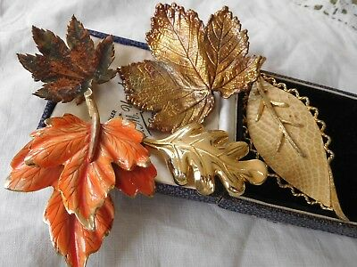 Lovely Collection of Vintage 1960s Autumnal LEAF Brooches