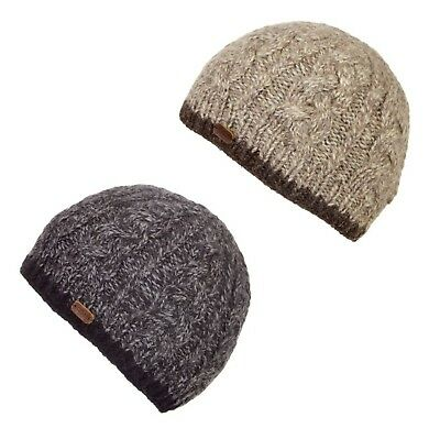 014638154aa Kusan 100% Wool Cable Twisted Yarm Beanie Hat PK1727 Oatmeal or Navy