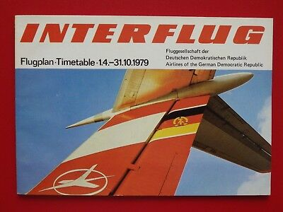 alter Flugplan Timetable INTERFLUG DDR von April - Oktober 1979 ( F 17424