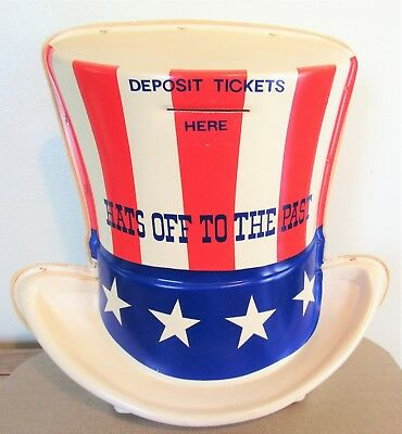 Vintage AMOCO AMERICAN OIL COMPANY~HATS OFF TO THE PAST~Uncle Sam Hat Ballot Box