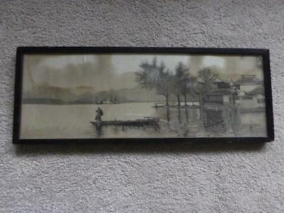 Antique Early Oriental Embroidered Silk Picture Wood Frame Black White Hand Made