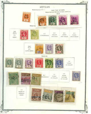 Ceylon 4 Album Pages Collection Lot With Revenues $$$$$$$