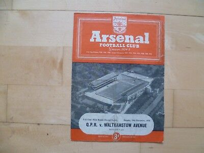 QPR v Walthamstow Ave. 1954 FA Cup 2nd Replay at Highbury