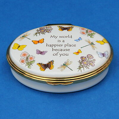 Halcyon Days Enamel Pill Trinket Box My World Is A Happier Place Because of You