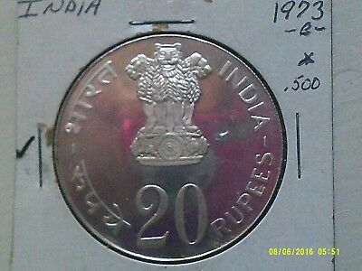 India 20 Rupees Silver Coin .500 KM240  Proof