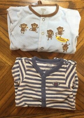 Lot Of 2 Boy Size 3 Month Footed One Piece Terry Sleeper Pajamas EUC